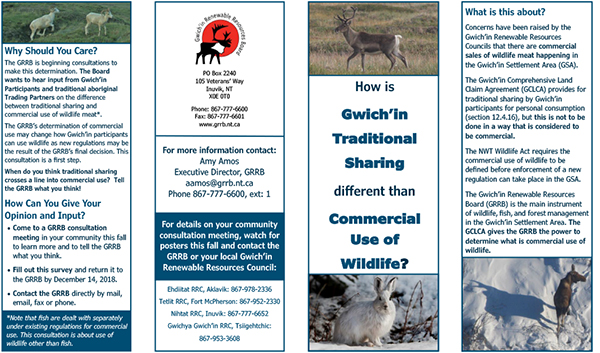 Gwich'in Community Harvest Survey Brochure